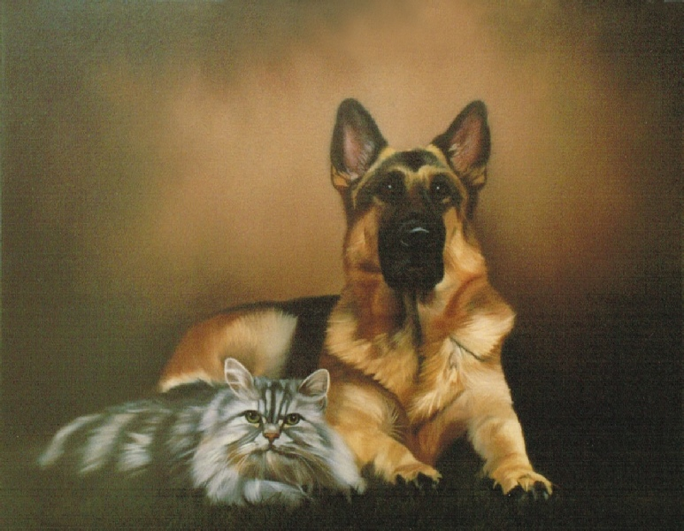 55e0b981a891 Oil Painting Pet Portrait of Dog and Cat.
