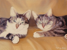 Pet Portrait of Two Cats in Oils.
