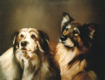 A Pet Portrait Oil Painting of Two Dogs.