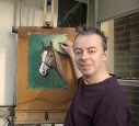 Stephen Bishop Artist Painting a Horse.